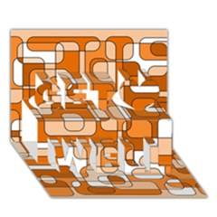 Orange decorative abstraction Get Well 3D Greeting Card (7x5)