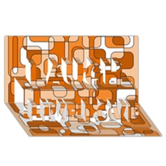 Orange decorative abstraction Laugh Live Love 3D Greeting Card (8x4)