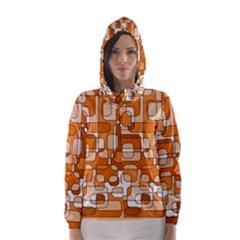 Orange decorative abstraction Hooded Wind Breaker (Women)