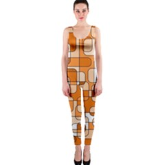 Orange decorative abstraction OnePiece Catsuit