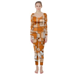 Orange decorative abstraction Long Sleeve Catsuit