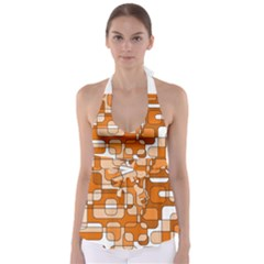 Orange decorative abstraction Babydoll Tankini Top