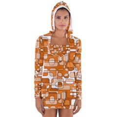 Orange Decorative Abstraction Women s Long Sleeve Hooded T Shirt