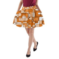 Orange decorative abstraction A-Line Pocket Skirt