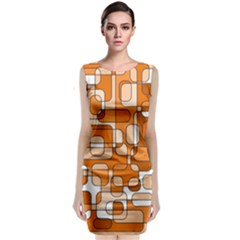 Orange Decorative Abstraction Classic Sleeveless Midi Dress