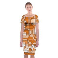 Orange Decorative Abstraction Classic Short Sleeve Midi Dress