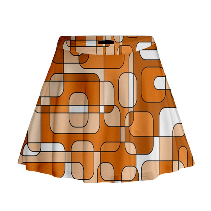 Orange decorative abstraction Mini Flare Skirt