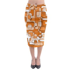 Orange Decorative Abstraction Midi Pencil Skirt