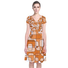 Orange Decorative Abstraction Short Sleeve Front Wrap Dress
