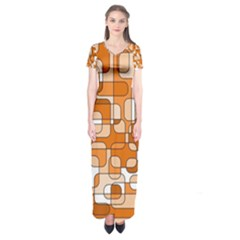Orange Decorative Abstraction Short Sleeve Maxi Dress