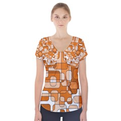 Orange Decorative Abstraction Short Sleeve Front Detail Top