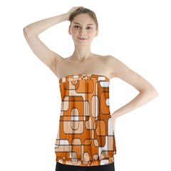 Orange Decorative Abstraction Strapless Top