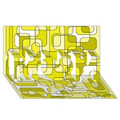 Yellow decorative abstraction MOM 3D Greeting Card (8x4)