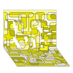 Yellow decorative abstraction LOVE 3D Greeting Card (7x5)