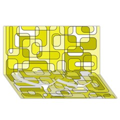 Yellow decorative abstraction Twin Heart Bottom 3D Greeting Card (8x4)