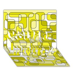 Yellow decorative abstraction YOU ARE INVITED 3D Greeting Card (7x5)