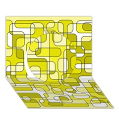 Yellow decorative abstraction Circle 3D Greeting Card (7x5)