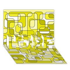 Yellow decorative abstraction HOPE 3D Greeting Card (7x5)