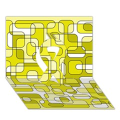 Yellow decorative abstraction Ribbon 3D Greeting Card (7x5)