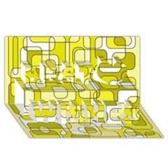 Yellow decorative abstraction Best Wish 3D Greeting Card (8x4)