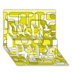 Yellow decorative abstraction WORK HARD 3D Greeting Card (7x5)