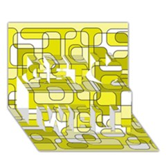Yellow decorative abstraction Get Well 3D Greeting Card (7x5)