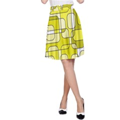 Yellow decorative abstraction A-Line Skirt