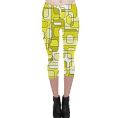 Yellow decorative abstraction Capri Leggings