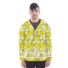 Yellow decorative abstraction Hooded Wind Breaker (Men)