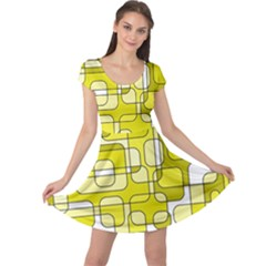 Yellow decorative abstraction Cap Sleeve Dresses
