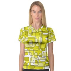 Yellow decorative abstraction Women s V-Neck Sport Mesh Tee