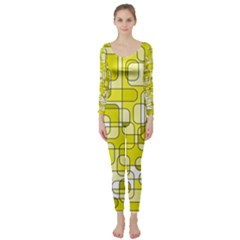 Yellow decorative abstraction Long Sleeve Catsuit