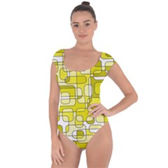Yellow decorative abstraction Short Sleeve Leotard