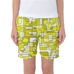 Yellow Decorative Abstraction Women s Basketball Shorts