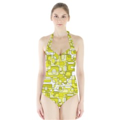 Yellow decorative abstraction Halter Swimsuit