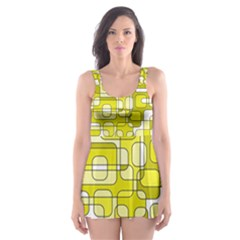Yellow decorative abstraction Skater Dress Swimsuit