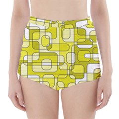 Yellow decorative abstraction High-Waisted Bikini Bottoms