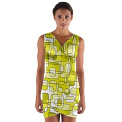 Yellow Decorative Abstraction Wrap Front Bodycon Dress