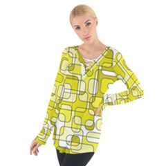 Yellow Decorative Abstraction Women s Tie Up Tee