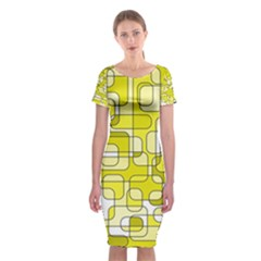 Yellow Decorative Abstraction Classic Short Sleeve Midi Dress