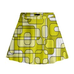Yellow Decorative Abstraction Mini Flare Skirt