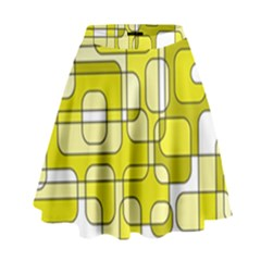 Yellow Decorative Abstraction High Waist Skirt