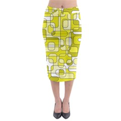 Yellow Decorative Abstraction Midi Pencil Skirt