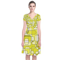 Yellow decorative abstraction Short Sleeve Front Wrap Dress
