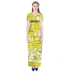 Yellow Decorative Abstraction Short Sleeve Maxi Dress