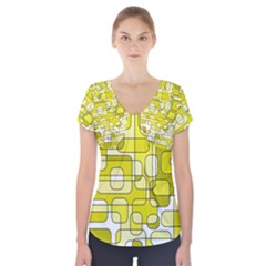 Yellow decorative abstraction Short Sleeve Front Detail Top
