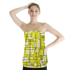 Yellow Decorative Abstraction Strapless Top