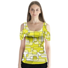 Yellow decorative abstraction Butterfly Sleeve Cutout Tee