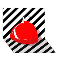 Red ball Apple 3D Greeting Card (7x5)