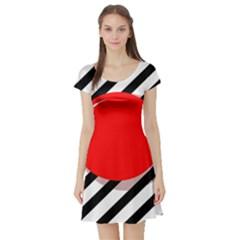 Red ball Short Sleeve Skater Dress